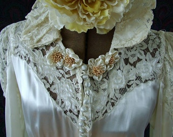 1930s Bias Cut Lace and Satin Wedding Gown