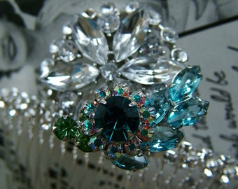 Something Blue Rhinestone Hairpeice Comb Wedding Tiara