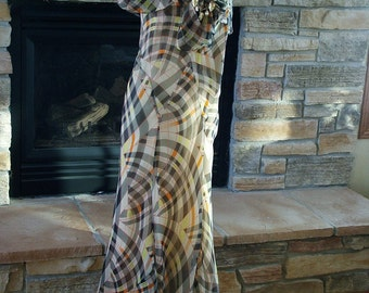 Vintage 1920s Chiffon Frock Dress in Plaid