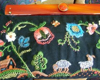 Vintage Hand Creweled Embroidered Purse
