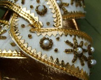 Retro Vintage Gold Beaded Mules sandals shoes slides