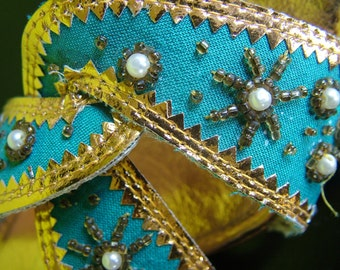 Vintage 1960s Hot turquoise beaded sandals gold and pearl decorated sassy retro style