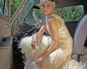 Vintage Wedding Gown 1920s inspired Roaring 20s Flapper Dress