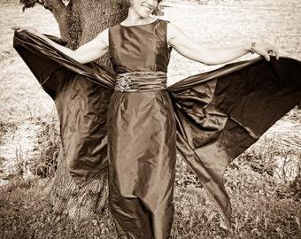 Iridescent Chocolate Taffeta 1950s Inspired Evening Gown