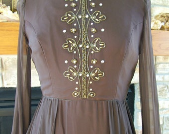 Vintage 1970s exspress brown chiffon evening gown gold beaded accents pearls