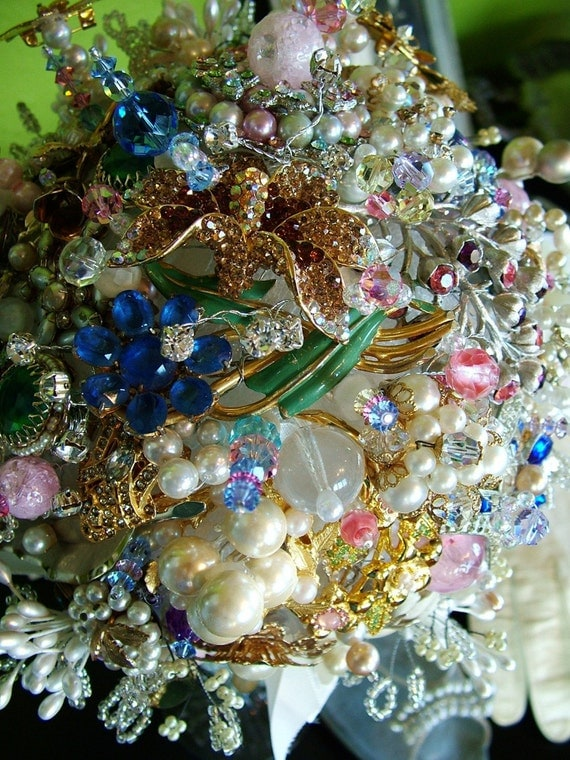 Vintage Jewellery Wedding Bouquets : Sale price handmade vintage brooch jewelry bridal bouquet