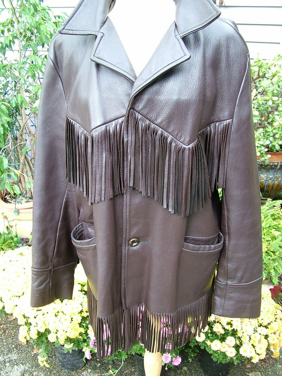 1970s fringe deer skin jacket size 46 dark brown cowboy hippie boho chic