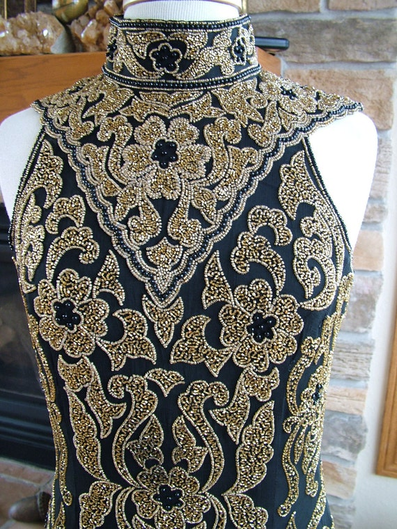 Art deco 1930s inspired Gold Black evening gown New Years Eve Red carpet ready