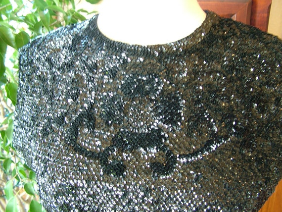 Black sequined blouse sweater tops shell 1960s british hong kong party