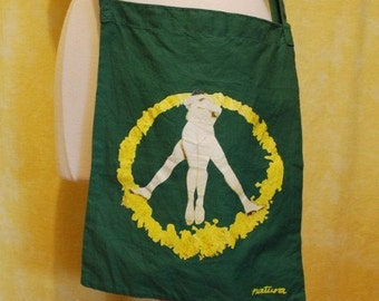 Vintage Cotton Tote Sling Purse Green with Unique Love Peace Sign Eco Love Sz All