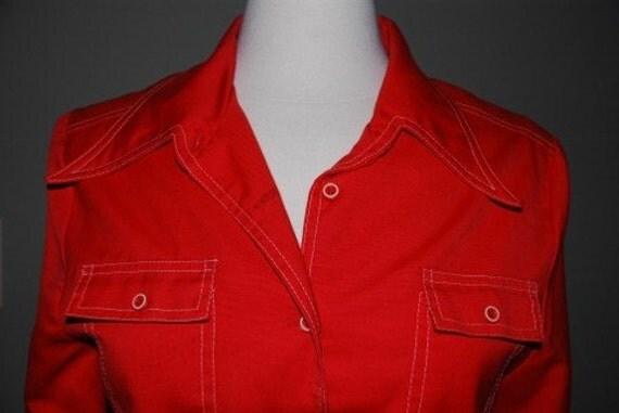 Vintage 70s Red Short waisted Jacket  M / L