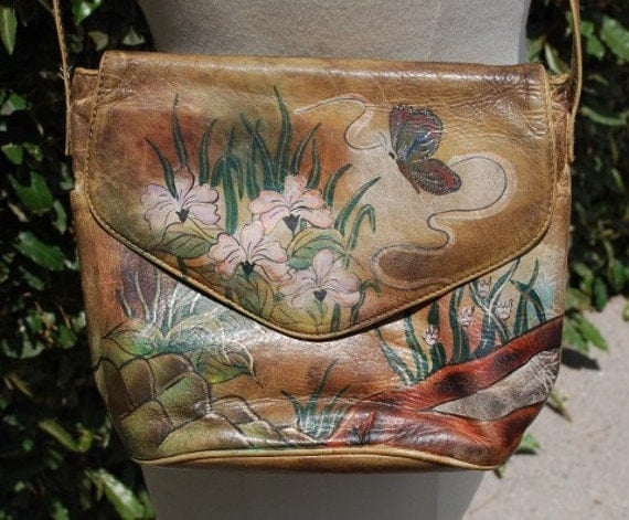 Vintage 70's 80's Marlene Gains Leather  Purse Handpainted Art By Brit Rosen
