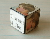 Unique Handmade Art Block of Vintage Little Boy Jim.