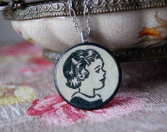 Fresh Face Little B&W Girl Handmade Circle Necklace with Round Wood Pendant with Vintage Illustration.