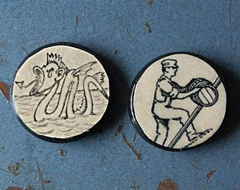 Man and Monster Handmade Pair of Small Round Wood Fridge Magnets Kitchen Decor with Vintage Illustrations.