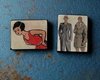 Pair of Handmade Wood Magnets with Vintage Illustrations.