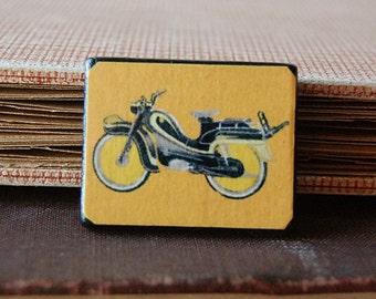 Mods Rule Orange Wood Pin Brooch with Vintage Illustration of Motorbike Scooter.