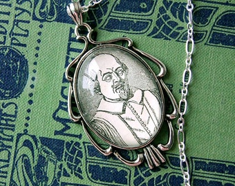 Thou Dost Infect My Sight Fancy Silver Geek Cameo of Shakespeare Necklace.