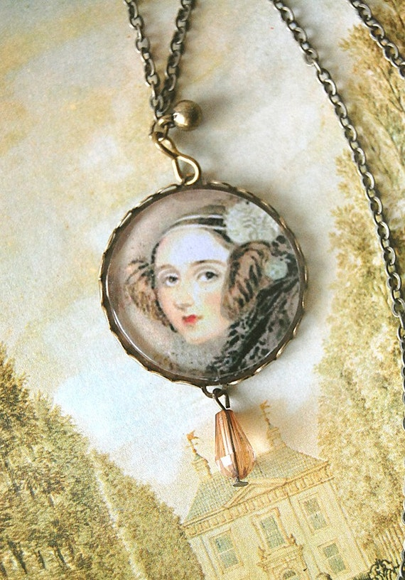 Ada Lovelace the Enchantress of Numbers Round Cameo Necklace in Brass Lace Filigree.