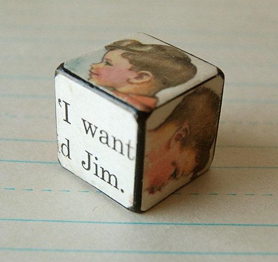 Unique Handmade Art Block of Vintage Little Boy Jim.
