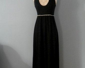 1970s maxi dress / Midnight Lace