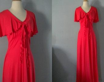 1970s maxi dress / 70s dress / Punch Flutter Dress