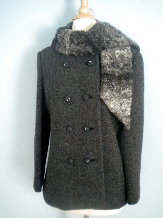 Reserved Gray 1970s Boucle Lambswool Coat