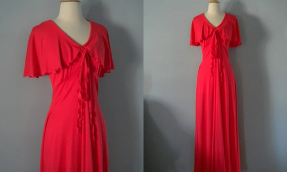 1970s maxi dress / 70s dress / Punch Flutter Dress