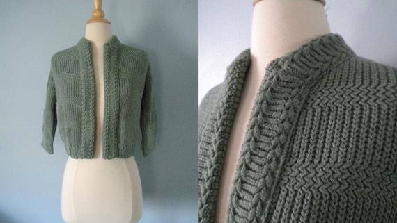 1950s sweater / 50s cardigan sweater / Sage