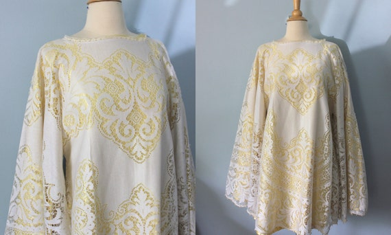 Reserved Listing// 1960s tent trapeze dress / Lace overlay yellow dress /