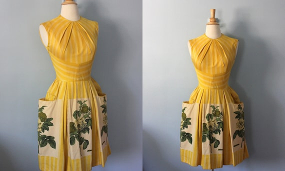 1950s dress / 50s cotton dress Mustard Yellow stripe and floral sun dress / Rosa Centifolia