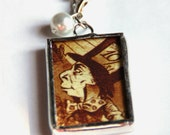 """1.5 Inch X 1 Inch Soldered Pendant Charm Alice in Wonderland Mad Hatter and White Rabbit with 30"""" Ball Chain"""