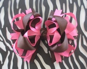 PINK and Brown large boutique style hair bow