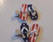 Flip Flop - red, white, and blue-flag hair clip
