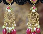 18K Solid Gold Chandelier Earrings w/ Rubies, Pearls