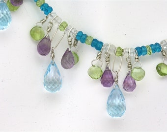 Silver Necklace with Topaz, Amethyst and Peridot Dangles