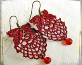 3 for 3 SALE - Burgundy lace earrings - lace trim, red vintage drop beads