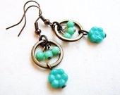 Mint Flowers Dangle Earrings - glass flowers, bead tassels, antiqued brass