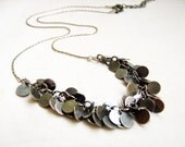 Rotondo Fringe Necklace - dark silver plated chains, mutli disks, crystal
