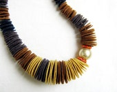 Ombre Felt Necklace- Found a Pearl  No4, mustard yellow, brown and black, oversized pearl, Czech crystals