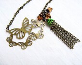 Butterfly Fringe Necklace - bronze filigree charm, tassel, wire wrapped beads