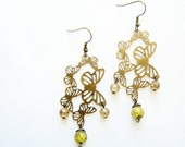 Butterfly Earrings - filigree brass butterflies, antiqued brass dangle earrings