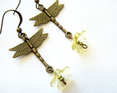 3 for 2 SALE - Dragonflies and flowers - brass charms and lucite flowers
