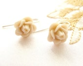 Rose Earrings, sterling silver earrings, Ivory cream  white earrings, more colors available
