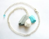 Ocean breeze geo necklace in blue, white, silver grey - Rare Diamonds Collection