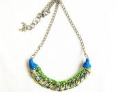Neon  Woven Necklace - blue, green, yellow and chunky chains, Handmade Bib Necklace