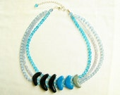 Ocean Mist Statement Necklace  - Blue, grey, black, handmade layered necklace