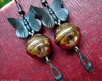 Butterfly Dangle Earrings,  dark antiqued brass earrings