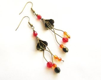 Flower Dangle Earrings, Handmade Statement Earrings