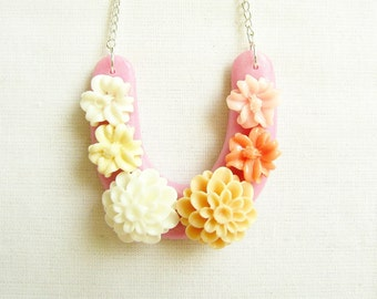 Peach Pink Flower Necklace, Flower Statement Necklace in Apricot, ON SALE, Handmade pendant necklace
